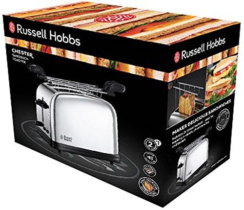 Russell Hobbs 23310-57 Tostadora para sándwiches con dos ranuras, acero inoxidable pulido, señal sonora 2, Plata: Amazon.es: Hogar