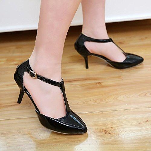 Mee Shoes Damen modern elegant spitz Schnalle ankle strap t-strap Lackleder Kitten-Heel Knöchelriemchen Pumps Schwarz