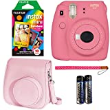 Photo : Fujifilm Instax Mini 9 Instant Camera - Flamingo Pink, Fujifilm Instant Mini Rainbow Film, and Fujifilm Instax Groovy Camera Case - Pink
