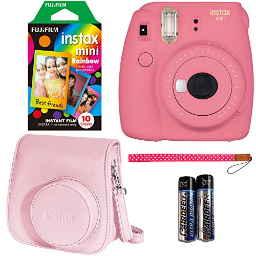 Fujifilm Instax Mini 9 Instant Camera – Flamingo Pink, Fujifilm Instant Mini Rainbow Film, and Fujifilm Instax Groovy Camera Case – Pink