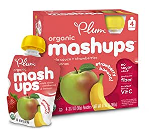 Plum Kids Organic Fruit Mashups, Apple Sauce Strawberry Banana, 3.17 Ounce, 4 Count (Pack of 6)