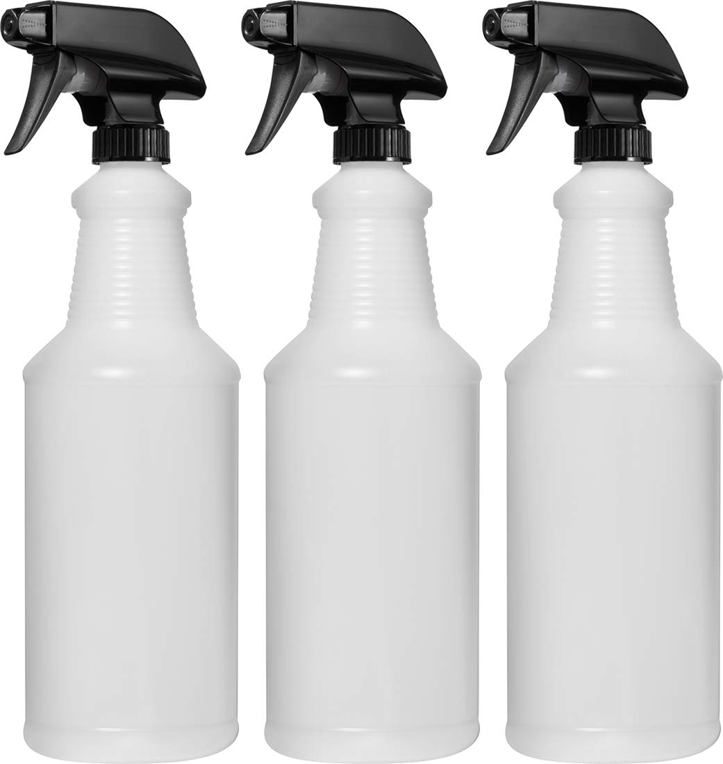 Empty Plastic Spray Bottle 32 Ounce, Professional Chemical Resistant with Black Sprayer, Heavy Duty, Adjustable Head Sprayer from Fine to Stream (Pack of 3) Bar5F