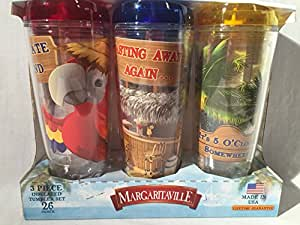 Margaritaville Plastic Double Wall Insulated Travel Tumbler Cup Glasses Large 26oz 3 Piece Set