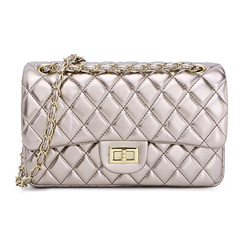 Women's Chain Quilted PU Leather Shoulder Bag (10'', (Silver Quilted Handbag)