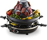 Gourmia GEG1400 Electric Raclette Party Grill With Vertical Grilling Sombrero & 6 Cheese