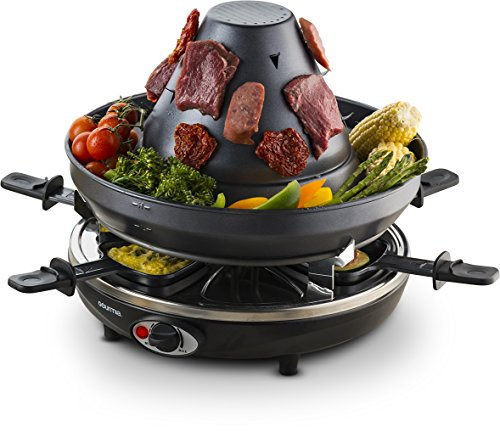 gourmia-geg1400-electric-raclette-party-grill-with-vertical-grilling-sombrero-6-cheese-melting-trays