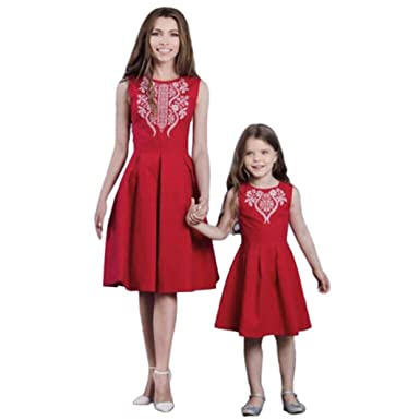 6f67d4dcdf5ffb Felicy Mother and Daughter Matching Dress, Women Baby Girls Summer Floral  Bohemia Print Sleeveless Sundress