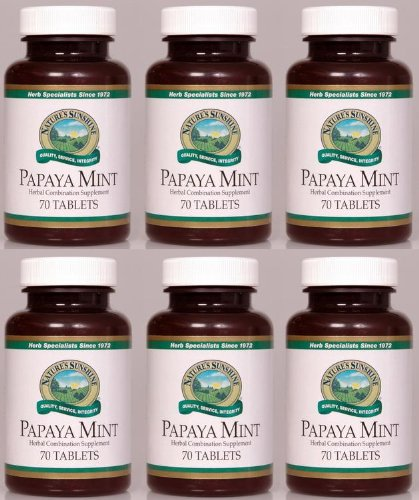 Naturessunshine Papaya Mint Digestive System Support Herbal Combination Supplement 70 Chewable Tabs (Pack of 6) by Nature's Sunshine