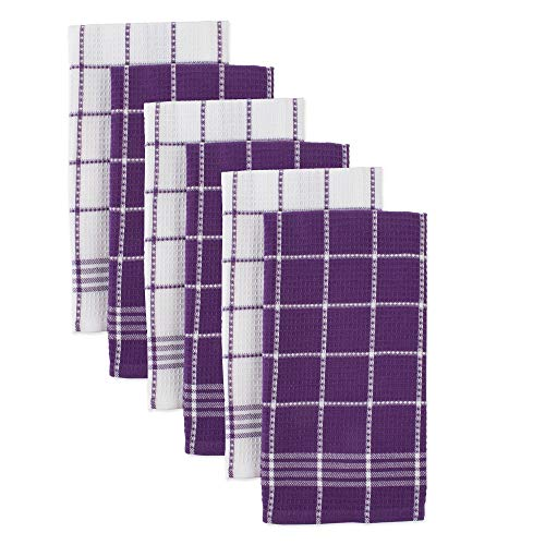 """Cotton Waffle Checkered Terry Dish Towels, 18x25"""" Set of 6, Absorbent Durable Drying Cleaning Kitchen Towels-Eggplant Purple/White"""