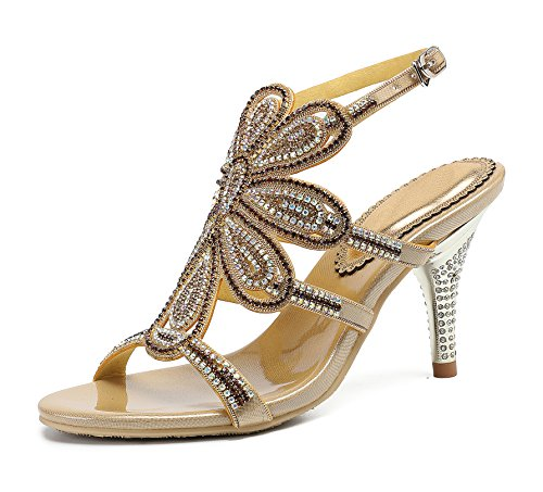 Gold Stiletto Women's Sandals Flower Shoes Pumps Rhinestones Heels Honeystore Dress wFZOqzx
