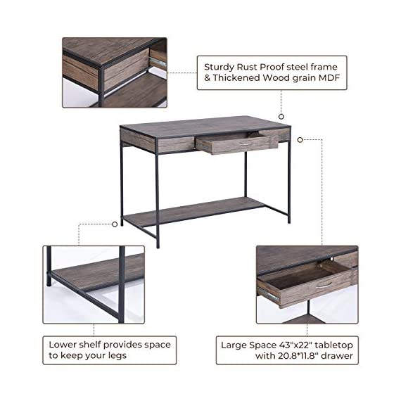 Aingoo Writing Computer Desk with Drawer Industrial Laptop Study PC Workstation Desk Table with Metal Frame for Home… -  - writing-desks, living-room-furniture, living-room - 51GuDlmYCbL. SS570  -
