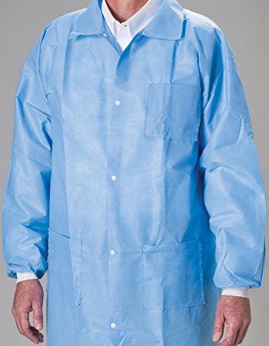 (MediChoice Laboratory Coats, Premium, Disposable, Anti-Static, Three-Pocket, Knit Cuff, 5-Snap, Spunbond Meltblown, XXXL, Blue (Case of)