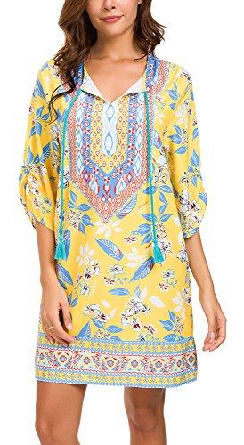 - Women Bohemian Neck Tie Vintage Printed Ethnic Style Summer Shift Dress (M, Pattern 13)