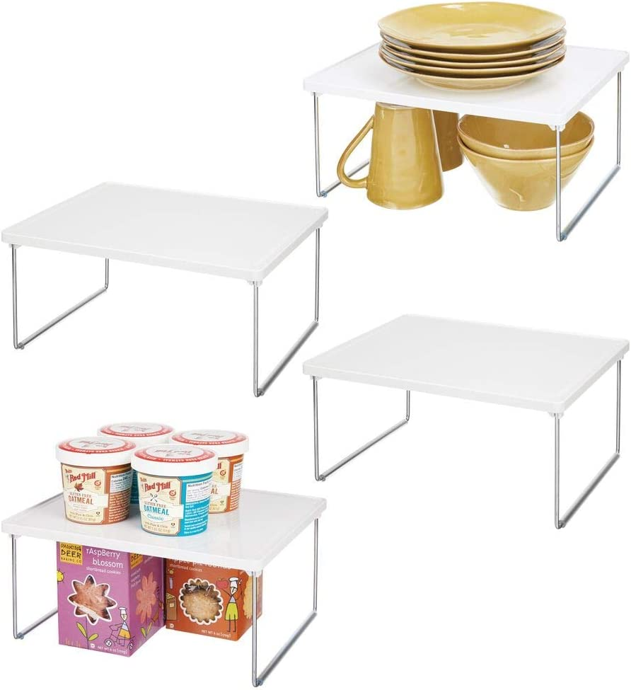 mDesign Decorative Plastic/Metal Storage Shelf - 2 Tier Raised Food and Kitchen Organizer for Cabinets, Pantry Shelves, Countertops, Stackable and Folds Flat - 4 Pack - White/Chrome