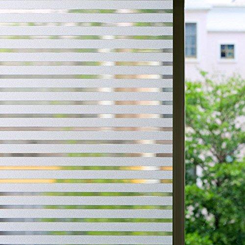 Bloss Window Film Office White Stripe Window Decal Window Paper Staic Cling Window Tint (17.7