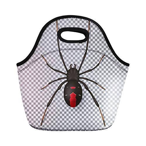 Semtomn Lunch Tote Bag Crawl Black Spider Top View on Realistic Insect Red Reusable Neoprene Insulated Thermal Outdoor Picnic Lunchbox for Men -