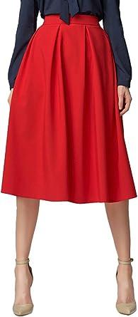 Urban GoCo Mujeres Vintage Falda Midi Plisada A-Line con Bolsillos ...