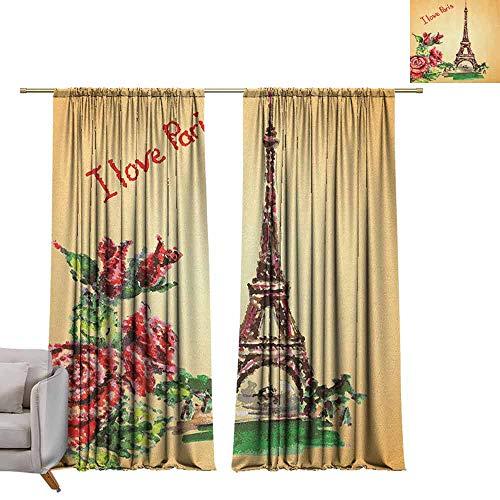 berrly Waterproof Window Curtain Vintage,Love Valentines in Paris Lettering Eiffel Tower Macrame Effect Watercolor, Orange Red Green W96 x L96 Window Curtain Drape