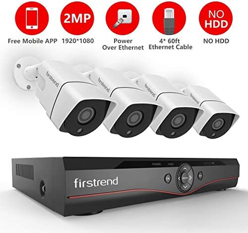 PoE Security Camera System,Firstrend 4CH Wired Camera System PoE with 4PCS 1080P IP Bullet Cameras P2P POE Home Security System Night Vision Free APP No Hard Drive