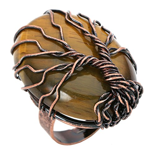 CrystalTears Vintage Bronze Family Tree of Life Ring Birthstone Crystal Wire Wrap Oval Gemstone Healing Ring Gift for Women Jewelry, Adjustable-Tiger Eye