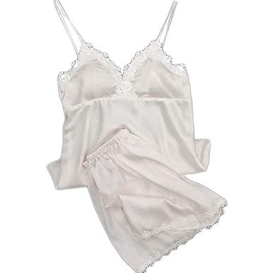 150f65d158a01 LOVELYOU Femme Pyjama Ensemble Satin Nuisettes Babydoll Lingerie Erotique Sexy  Mode sous-Vêtements Jumpsuit Sleepwear