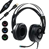 Gaming Headset, MFEEL 7.1 Surround Sound Stereo Vibration Headset,USB Over Ear LED Games Headphone with Microphone for PC Mac Laptop PS4
