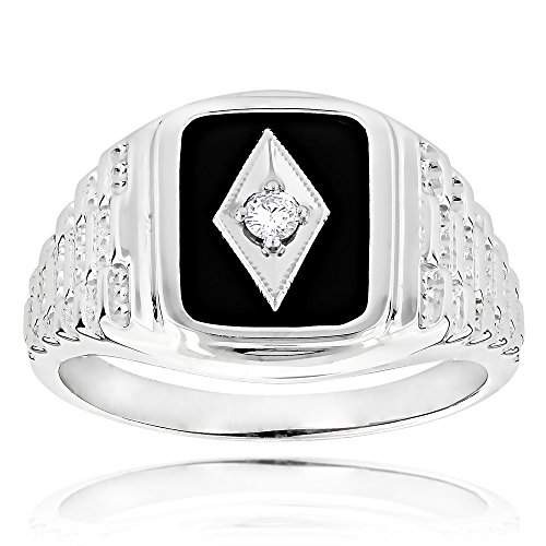 - Luxurman Black Natural Onyx And Real 0.1 Ctw Diamond 14K Mens Vintage Ring For Him (White Gold Size 9.5)