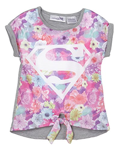 (611042SGM) DC Comics Supergirl Girls Fashion Tee Shirt in Tye Die Size: 7/8