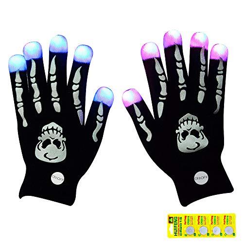 Flashing LED Light Gloves Led Skeleton Gloves, 12 Color Changeable Light Up Hand Gloves 4 Buttons Batteries Combined Halloween Costume, Novelty -