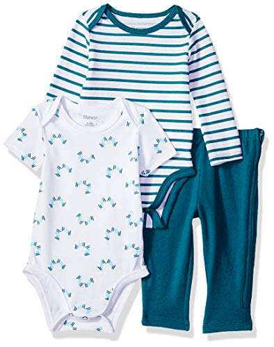 - Hanes Ultimate Baby Boys Zippin Pants with Short and Long Sleeve Bodysuit Set, Green Stripe, 6-12M