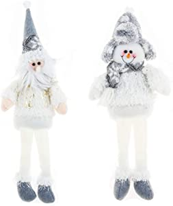 """Wanery Christmas Elves Decorations Dolls, White Long Legs 18"""" Santa Claus and 16"""" Snowman Holiday Ornaments Xmas Decor Adorable Gifts Shelf Sitters Characters for Holiday Home Décor Set of 2"""