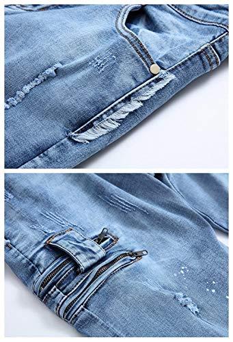 Dritta Estilo Ufig Gamba Casual Especial Fit Lavati Uomo Jeans Da Slim Pantaloni Strappati Blau 6d8T8vnz
