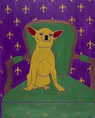 Chihuahua on Chair Dog Art - Colorful Dog Art MATTED Print - Matisse Inspired by Angela Bond