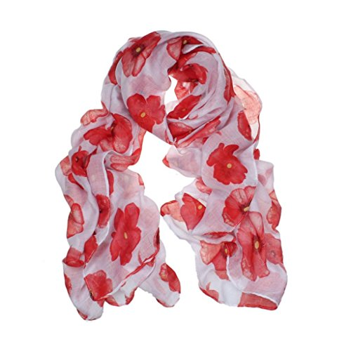 (Franterd New Ladies Red Poppy Print Long Scarf Flower Beach Scrafs Shawl (White))