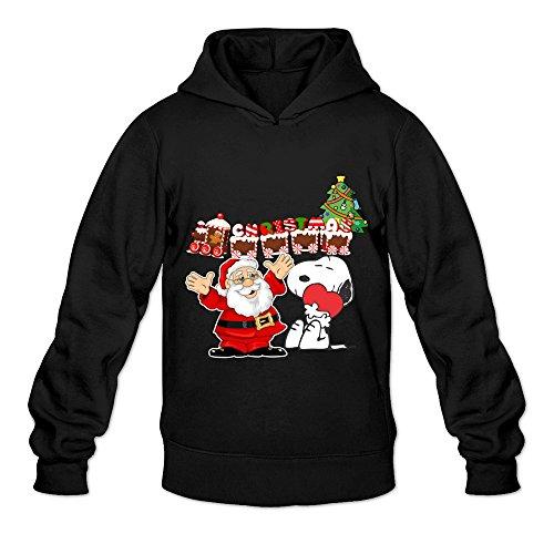 GYKU Men's Merry Christmas Snoopy Long Sleeve Hoodie Sweatshirt Size S Black,100% Cotton (Snowman Christmas Jewels)
