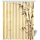 Bamboo Decor Shower Curtain Abstract Tree And Pattern Design Curtains Bathroom With