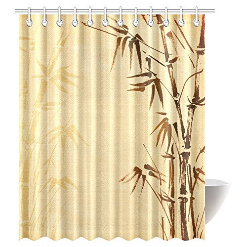 Bamboo Decor Shower Curtain, Abstract Tree and Bamboo Pattern Design Shower Curtains Bathroom Decor with Hooks Polyester Fabric Bath Curtain Sets 72 X 84 inches Extra Long