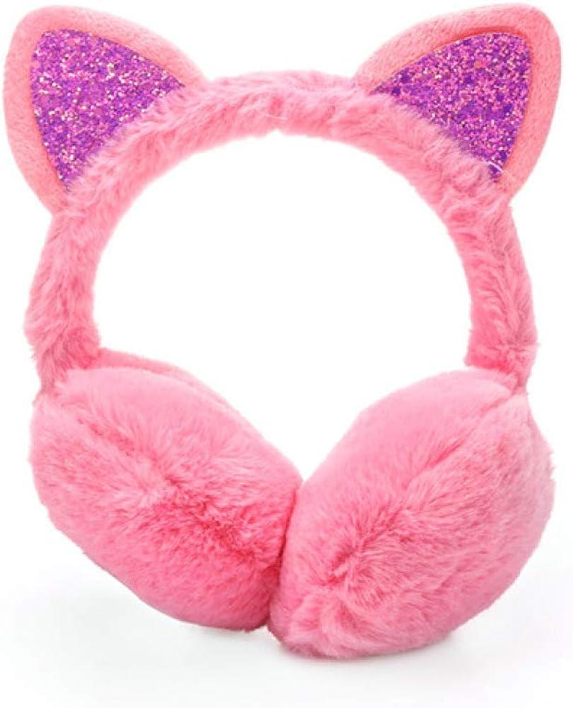 Phoetya Cache-oreilles /élastiques pour femmes et filles en forme de lapin pour lhiver Cadeau danniversaire Rose