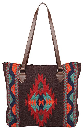 Large Tote Bag, Eco Friendly, Beautiful Southwest and Native American Designs on Hand-woven Wool (Running Bear F)