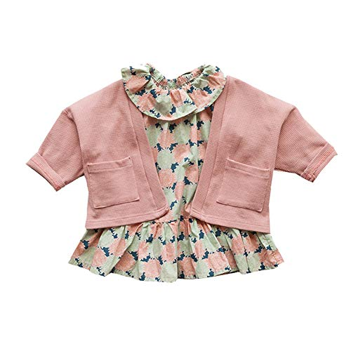 Mornyray Toddler Little Girl Floral Printed Long Sleeve Dress Knitted Cardigan Coat Size 73 (Pink) by Mornyray (Image #4)