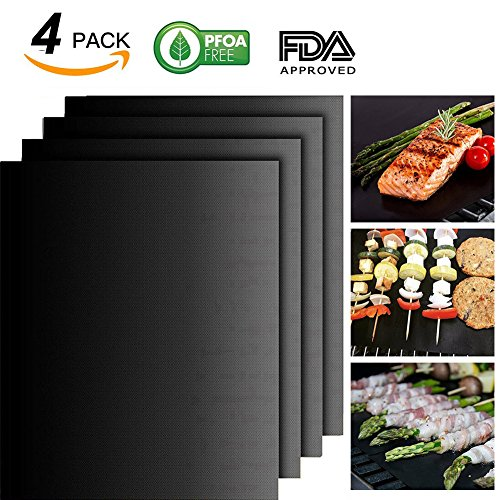BBQ Grill Mat Set of 4 - 100% Non-stick BBQ Grill Mats - FDA-Approved, PFOA Free, Reusable and Easy to Clean - Works on Gas , Charcoal , Electric Grill and More - 15.75 x 13 Inch (Black) (Utensils Fire Open)