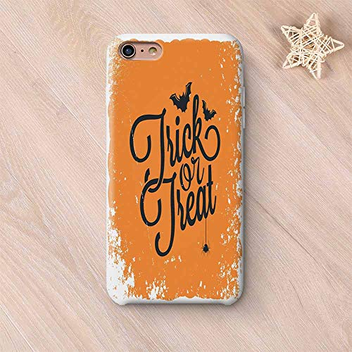 Vintage Halloween Hard Shell Compatible with iPhone Case,Trick or Treat Halloween Theme Celebration Image Bats Tainted Backdrop Decorative Compatible with iPhone 7/8,iPhone 6 Plus / 6s Plus -