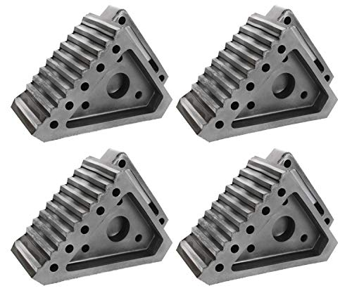 (Extreme Max Value 4-Pack 5001.5772.4 Heavy-Duty Solid Rubber Wheel Chock with Handle, 4 Pack)