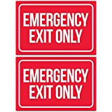Emergency Exit Only Sticker Signs (Pack of 2)   Large Decals for Doors, Offices, Restaurants, Stores, Schools, Hospitals