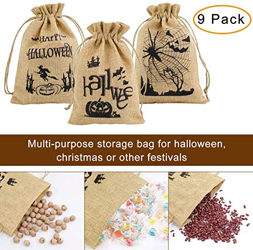 Halloween Candy Bags Pouches, 9-PACK Halloween Pumpkin Goodie Bag Party Favor Trick or Treat Goody Bags for Cookie Candy with Drawstring Linen Bag
