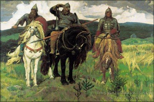 16x24 Poster; Bogatyrs (1898) By Viktor Vasnetsov. Bogatyrs (Left To Right) Dobrynya Nikitich, Ilya Muromets, Alyosha Popovich Vityaz Russian Knights