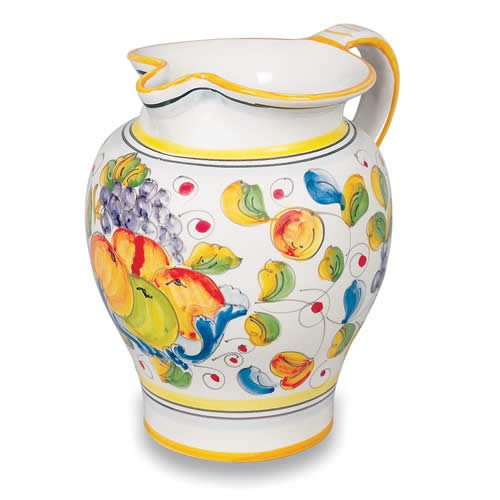 - Deruta Hand Painted Miele Ceramic Pitcher From Italy