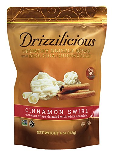 Drizzle Crisps - Drizzilicious Crisps! Crunchy Drizzle Bites With Rice, Chia, Quinoa & Flax! Only 90 Calories Per Serving! Choose From S'mores Or Cinnamon Swirl! 4oz Package! 1 Pack! (Cinnamon Swirl)