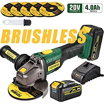 Image of Angle Grinders Angle Grinder Cordless, POPOMAN 20V 5 Inch Brushless Angle Grinder 10000RPM/4.0Ah Li-Ion Battery, 3-Position Adjustable Auxiliary Handle, 5pcs Grinding Wheel 5', Fast Charger