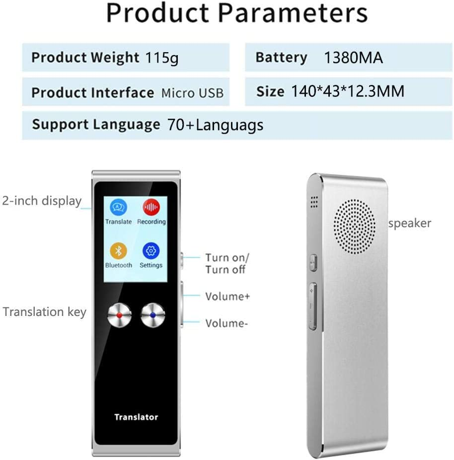 Smart Language Translator Device Voice Two Way Translation,Smart Language Translator Support for 105 Languages 4G //WiFi//Offline Instant Translation with 2.0 Inch Touch Screen